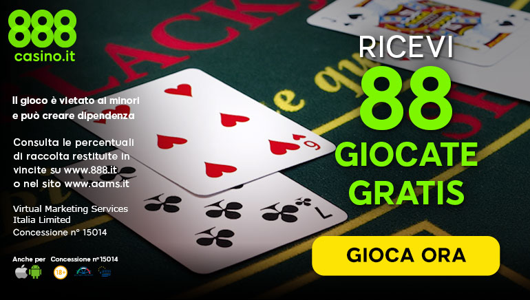 Incredibile Bonus senza Deposito su 888 Casinò!