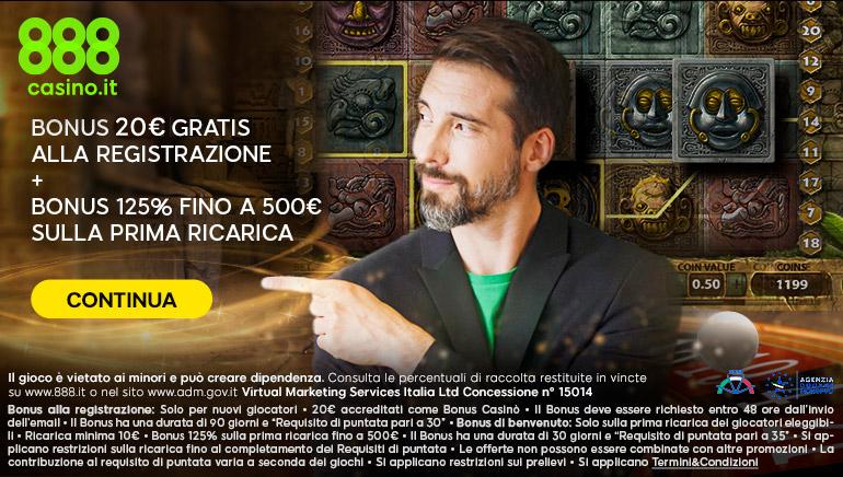 888casino ti regala 20€ alla registrazione: per iniziare a giocare basta aprire un conto e richiedere il Bonus senza deposito.