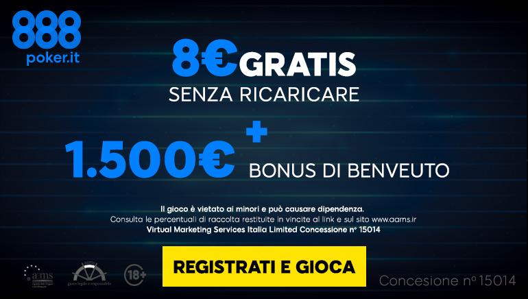 888 Poker Italy dá il benvenuto ai giocatori con un enorme bonus da 1.500€