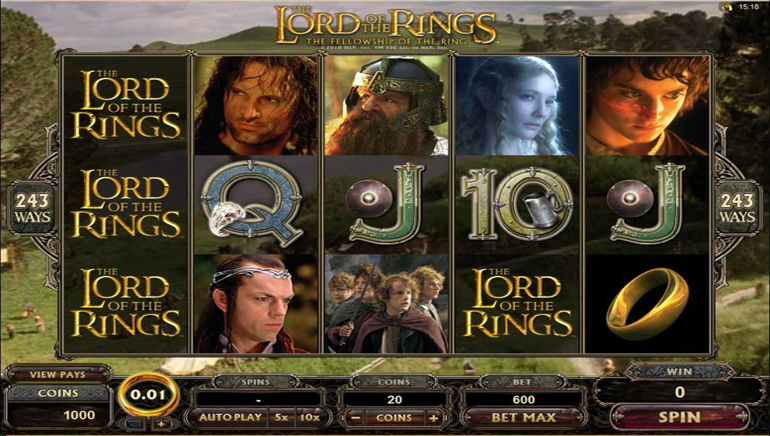 "Jackpot multi-milionario con ""The Lord of the Rings"""